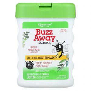 Quantum Buzz Away Extreme Repellent Pop-Up Towelette Dispenser – 25 Towelettes