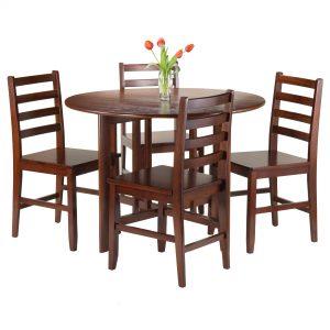 Alamo 5-Pc Round Drop Leaf Table with 4 Hamilton Ladder Back